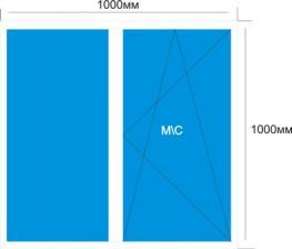 Готовое окно Melke Evolution 70 мм 1000*1000 мм