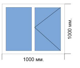 Готовое окно 1000*1000 мм Provedal